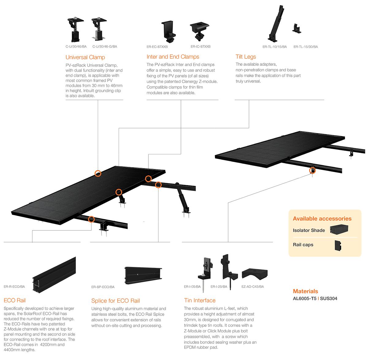 Clenergy PV-ezRack SolarRoof Black